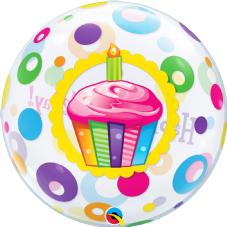 Happy Birthday Cupcake Dots Bubble Balloon